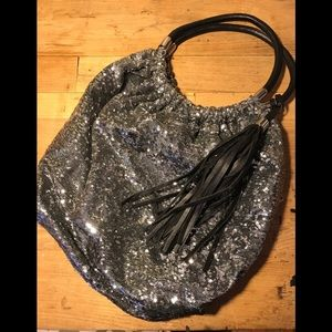 Steve Madden sequined silver hobo bag